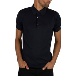 Clothing Men short-sleeved polo shirts John Smedley Men's Adrian Plain Polo Shirt, Blue blue