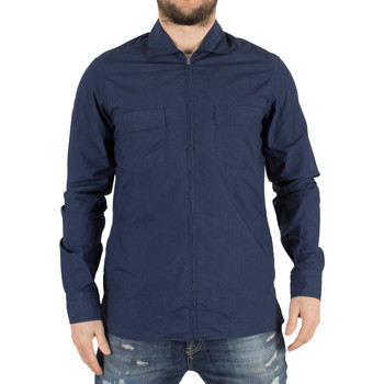 Clothing Men Jackets J Lindeberg Men's Daniel CL Slim Fit Zip Overshirt, Blue blue