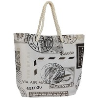 Bags Women Shopping Bags / Baskets Mora Mora Sac Caligrafia Timbre Beige