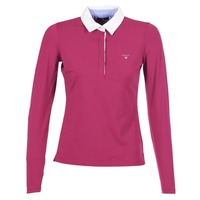 Clothing Women long-sleeved polo shirts Gant SOLID JERSEY LS RUGGER Pink