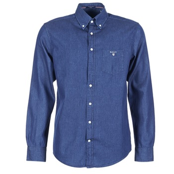 Clothing Men long-sleeved shirts Gant THE INDIGO SHIRT Blue