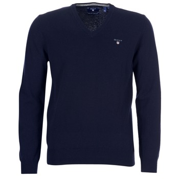 Clothing Men jumpers Gant SUPER FINE LAMBSWOOL V-NECK Marine