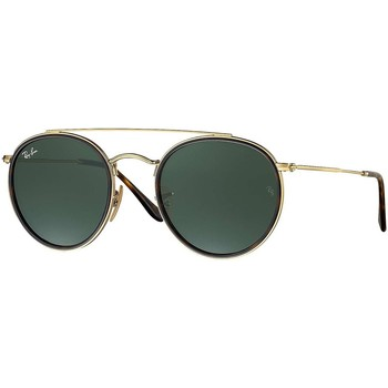 Watches Men Sunglasses Ray-ban Men's Round Double Bridge Metal Sunglasses, Gold gold