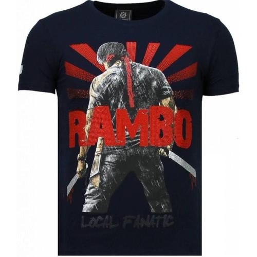Clothing Men Short-sleeved t-shirts Local Fanatic Rambo Shine  Rhinestone Blue