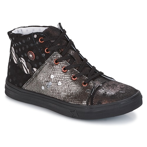 Shoes Girl Hi top trainers Catimini ROUSSEROLLE Black / Silver