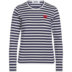 Clothing Women T-shirts & Polo shirts Comme Des Garcons Blue T-shirt Play by Comme de Garcon with white stripes Blue