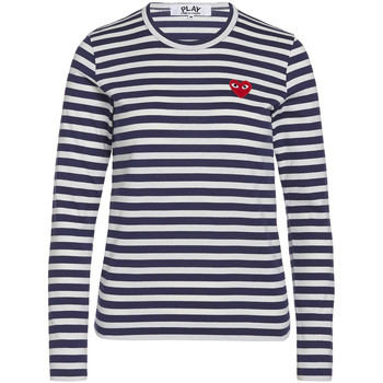 Clothing Women Long sleeved tee-shirts Comme Des Garcons T-shirt Play by Comme de Garcon with white stripes Blue