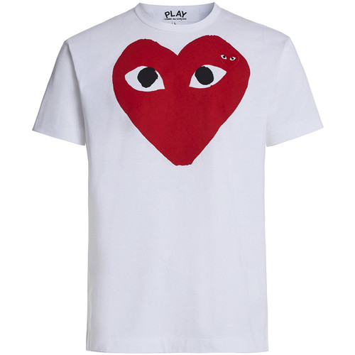 Clothing Men short-sleeved t-shirts Comme Des Garcons T-shirt Play by Comme de Garcon with red heart and black White