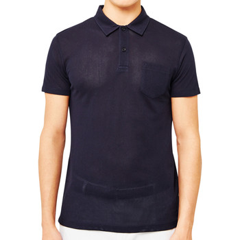 Clothing Men short-sleeved polo shirts Sunspel Short Sleeve Riviera Polo Shirt Navy Blue