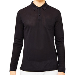 Clothing Men long-sleeved polo shirts Sunspel Long Sleeve Riviera Polo Shirt Black