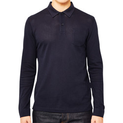 Clothing Men long-sleeved polo shirts Sunspel Long Sleeve Riviera Polo Shirt Navy Blue