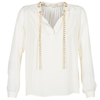 Clothing Women Tops / Blouses MICHAEL Michael Kors SLIT L/S CHAIN Cream