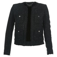 Clothing Women Jackets / Blazers MICHAEL Michael Kors FRAY TWD 4PKT JKT Black / Silver