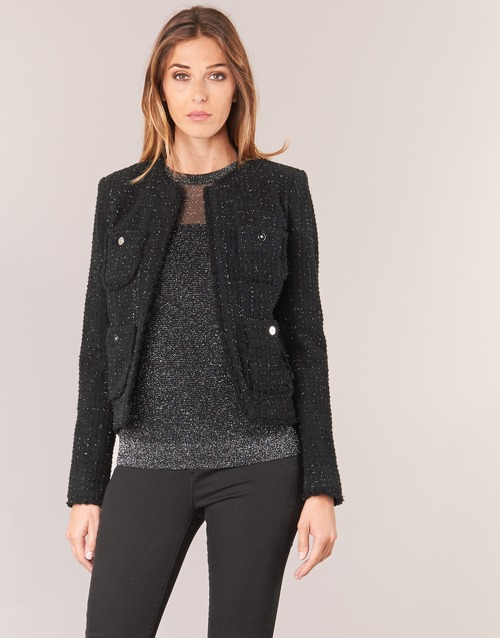 Clothing Women Jackets / Blazers MICHAEL Michael Kors FRAY TWD 4PKT JKT Black / Silver