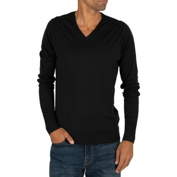 Clothing Men jumpers John Smedley Men's V-Neck Knit, Black black