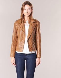Clothing Women Leather jackets / Imitation leather Naf Naf CUBA Brown