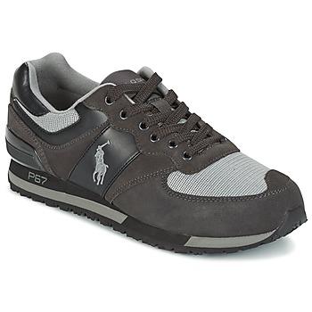 Shoes Men Low top trainers Ralph Lauren SLATON PONY Black / Grey