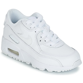 Shoes Boy Low top trainers Nike AIR MAX 90 LEATHER PRE-SCHOOL White