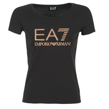 Clothing Women short-sleeved t-shirts Emporio Armani EA7 TRAIN LOGO SERIES GLITTER Black / GOLD / Pink