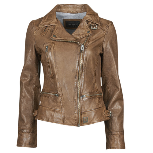 Clothing Women Leather jackets / Imitation leather Oakwood VIDEO Cognac