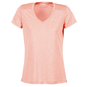 Clothing Women short-sleeved t-shirts Under Armour TECH SSV - TWIST Pink