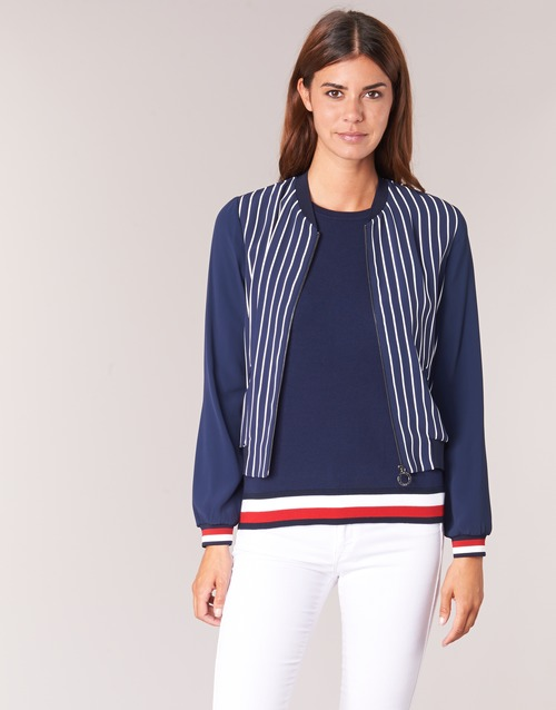 Clothing Women Jackets / Blazers Tommy Hilfiger NALOME GLOBAL STP BOMBER Marine / White / Red