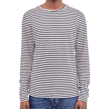 Clothing Men Long sleeved tee-shirts The Idle Man Breton Stripe Long Sleeve T-Shirt Navy Blue
