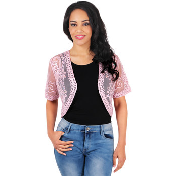 Clothing Women Jackets / Cardigans Krisp Sequin Embroidered Mesh Shrug {Pink} Pink