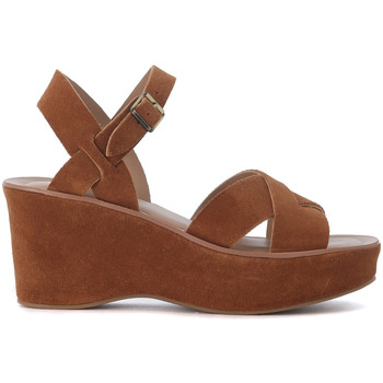 Shoes Women Sandals Kork Ease Ava suede leather wedge sandal Brown
