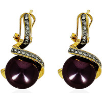 Watches Women Earrings Fashionvictime Earrings For Women By  - 18Ct Gold Plated Jewel- Zirconia, Pearl Transparent,