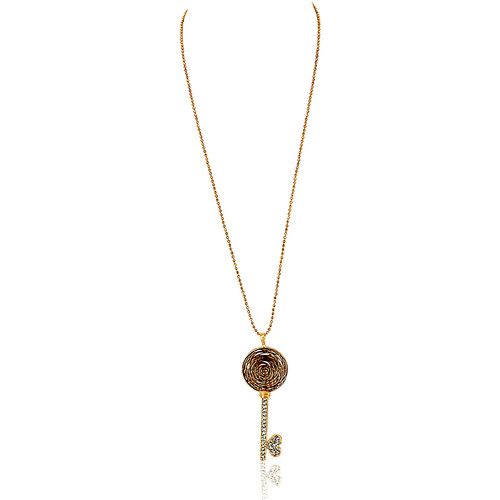 Watches Women Necklaces Fashionvictime Necklace For Women By  - 18Ct Gold Plated Jewel- Zirconia Transparent,