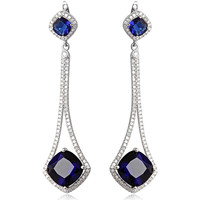Watches Women Earrings Fashionvictime Earrings For Women By - Silver 925 Jewel- Zirconia Bleu