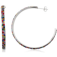 Watches Women Earrings Fashionvictime Earrings Hoops For Women By - Silver-Plated-Rhodium Jewel- Crys Multicolore,