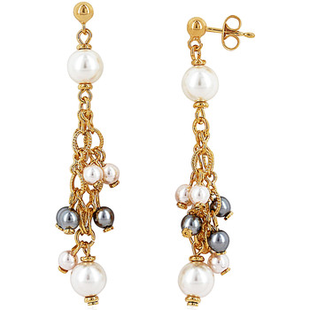 Watches Women Earrings Fashionvictime Earrings For Women By  - 18Ct Gold Plated Jewel- Pearl Blanc