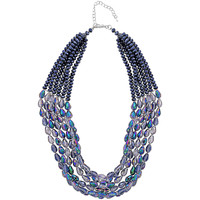 Watches Women Necklaces Fashionvictime Necklace For Women By - Rhodium Plated Jewel- Crystal Bleu