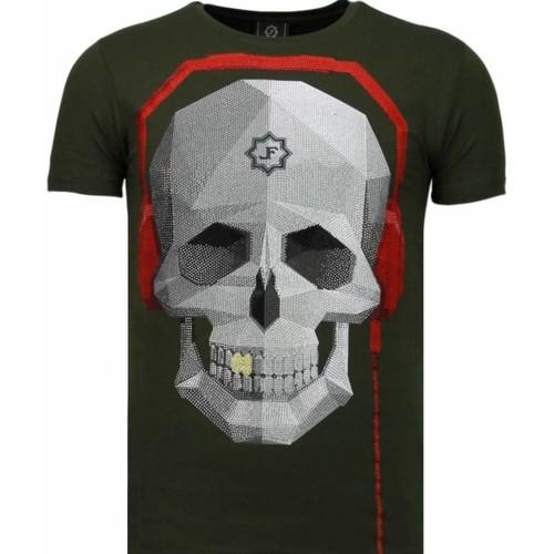 Clothing Men Short-sleeved t-shirts Local Fanatic Skull Bring The Beat  Rhinestone Green