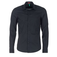 Clothing Men Long-sleeved shirts Benetton MERLO Black