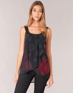 Clothing Women Tops / Sleeveless T-shirts Desigual MEGEC Black / Red