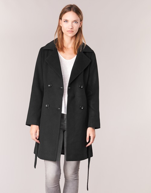 Clothing Women Coats Casual Attitude HALLOA Black