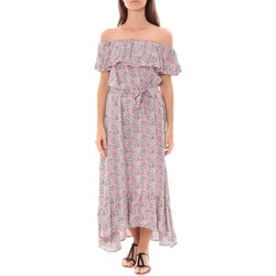 Clothing Women Long Dresses By La Vitrine Robe Longue Care  of you Fleuri Rose F50035 Pink