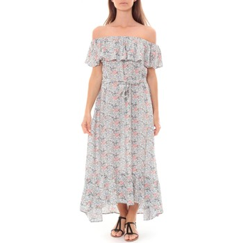 Clothing Women Long Dresses By La Vitrine Robe Longue Care  of you Fleuri Bleu F50035 Blue