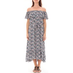 Clothing Women Long Dresses By La Vitrine Robe Longue Care  of you Fleuri Noir F50035 Black