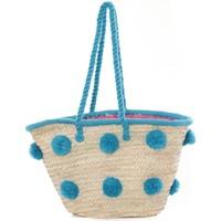 Bags Women Shopping Bags / Baskets Very Bag Street Sac Paille pompons Mutli  Bleu Blue