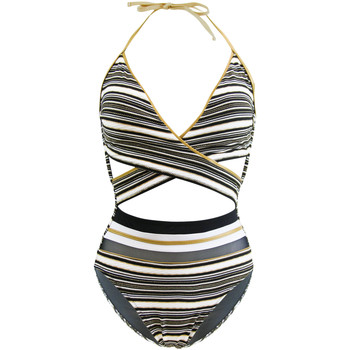 Clothing Women Swimsuits Gottex One Piece Black, White and Gold Cross Front Swimsuit Regatta BLACK