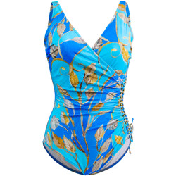 Clothing Women Swimsuits Gottex One Piece Blue and Gold Swimsuit Capri BLUE