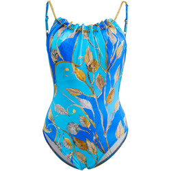 Clothing Women Swimsuits Gottex One Piece Blue and Gold Round Neck Tank Swimsuit Capri BLUE
