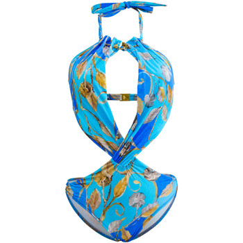 Clothing Women Swimsuits Gottex One Piece Trikini Blue and Gold Swimsuit Capri BLUE