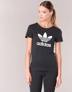 Clothing Women short-sleeved t-shirts adidas Originals TREFOIL TEE Black