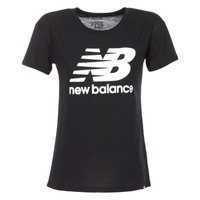 Clothing Women short-sleeved t-shirts New Balance NB LOGO T Black / White