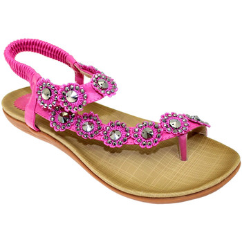 Shoes Women Sandals Lunar Ladies Charlotte Flower Trim Toe Post Sandal Fuchsia (Pink)